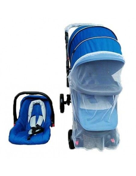 Coche cuna con porta bebe Beautiful - Azul