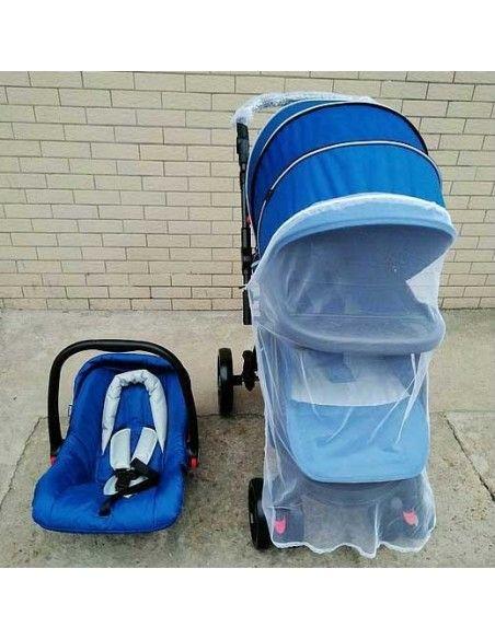 Coche cuna con porta bebe Little baby - Azul