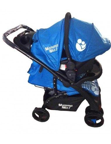 Coche cuna con porta bebe Mamma Mia - Azul