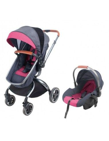 Travel System Baby Kits F80 - Plomo con rosado