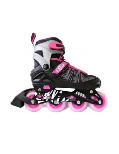 Patines Lineales regulables Ollie - Fucsia y negro
